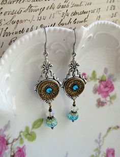Antique Button Earrings turquoise glass beads by NobleStudiosLtd, $29.00