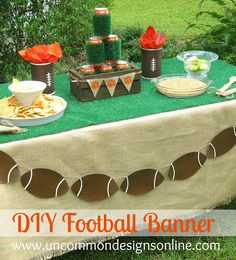 DIY Football Banner for the Tailgate or football party.