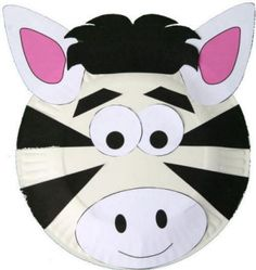 zebra plate craft, replace cut out eyes with googly eyes and then use same template to teach triangles for zebra and Tiger
