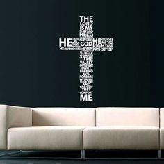 Cross Jesus Christ Wall Decal Religion Prayer Writing Decals Wall Vinyl Sticker God John Psalm Quote Interior Home Decor Art Bedroom SV5867 by supervinyldecal. Explore more products on http://supervinyldecal.etsy.com