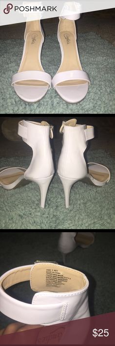 White sandal heels LOVE THESE! But sadly they don't fit my feet anymore:( they are size 9's and the brand is candies. I wore them once for like an hour lol. They are in perfect condition. No scuffs of anything. Candie's Shoes Heels