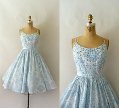 1950s Vintage Sundress  50s Blue and White Floral by Sweetbeefinds, $138.00