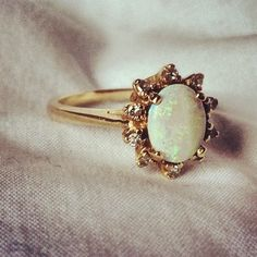 Vintage Opal Ring ♡ Opal isn't very strong so not good for engagement but love for just a cocktail ring. Love this setting though- would be perf with a PANK stone