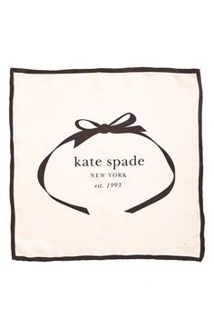 kate spade new york bow logo small silk square scarf | A tasteful kate spade logo centers a swank silk scarf with contrast trim and an iconic bow graphic.