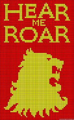 Hear me roar Game of Thrones perler bead pattern
