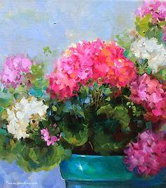 Nany Medina colorfull painting. #Nancy_Medina, #oil_painting, #Geranium