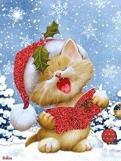 Natal Christmas and Advent , Christmas Scenes, Noel Christmas, Vintage Christmas Cards, Christmas Pictures, Winter Christmas, Xmas, Christmas Kitten, Christmas Animals, Christmas Illustration