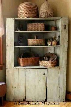 A Simple Life Magazine Spring 2015 issue: Kinderhook, NY home of Linda Heard & Owen Wittek Primitive Homes, Primitive Bathrooms, Primitive Kitchen, Primitive Antiques, Country Primitive, Primitive Decor, Primitive Cabinets, Prim Decor, Country Decor