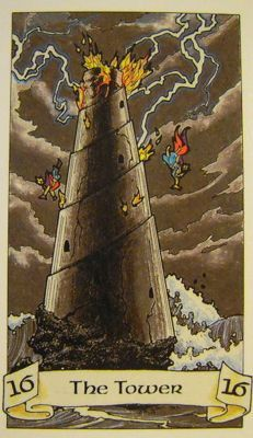 The Tower from Robin Wood tarot deck