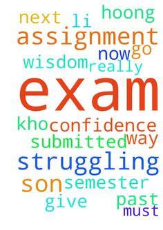 Please pray for my Son exam  he is struggling  assignment - Please pray for my Son exam he is struggling assignment submitted now is exam name is Kho Li Hoong God to give him confidence wisdom. I really cant help in any way for him he must past this exam to go to next semester Posted at: https://prayerrequest.com/t/pE3 #pray #prayer #request #prayerrequest