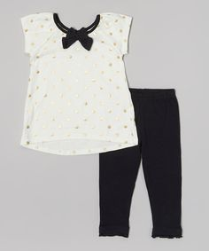 This Amy Byer Ivory Tina Tunic & Black Leggings - Infant & Toddler by Amy Byer is perfect! #zulilyfinds