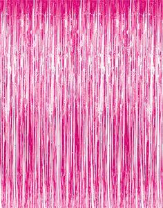 "3' x 8' (36"" x 96"") Pink Tinsel Foil Fringe Door Window Curtain Party Decoration"