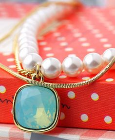 Golden Chain and Pearl Bracelet with Crystal Charm