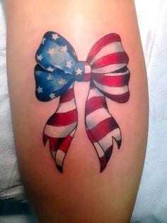 American flag tie a bow tattoo American Tattoos For Women Usa Tattoo, Tattoo Femeninos, Tattoo Son, First Tattoo, Wild Tattoo, Tattoo Outline, Patriotische Tattoos, Army Tattoos, Military Tattoos