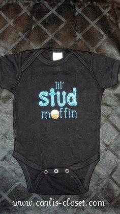 Baby Boy Onesie Bodysuit Stud Muffin size 3, 6, 9, 12 months. $20.00, via Etsy.