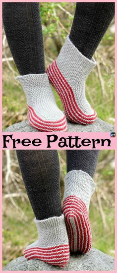 The Simple Garter Stitch Slippers Free knitting Pattern knitted flat and seamed with neat crocheted finishing. It is a quick and fairly easy knitting project that is suitable for more confident beginners. Easy Crochet Slippers, Crochet Slipper Boots, Knit Slippers Free Pattern, Slipper Socks, Knitting Patterns Free, Free Knitting, Baby Knitting, Crochet Patterns, Crochet Edgings
