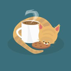 Tea & Kittens by Matty Spencer - my cat always comes up to smell my coffee in the morning, must be the cream in it!  ~EI