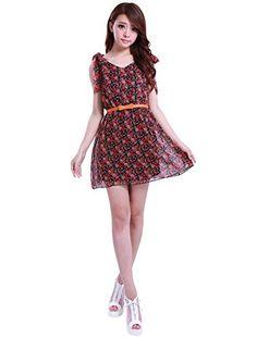 Allegra K Women Stretchy Self Tie Bowknot Shoulder Flower Print V-Neck Dress Allegra K http://www.amazon.com/dp/B007W9ZVME/ref=cm_sw_r_pi_dp_HEUMvb0ZJ0T0A