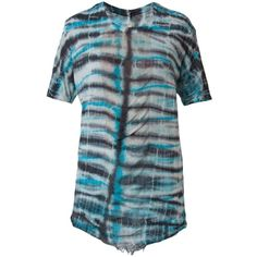 Raquel Allegra tie-dye T-shirt (7.150 RUB) ❤ liked on Polyvore featuring tops, t-shirts, blue, print top, pattern tees, pattern t shirt, tye dye tops and tie dye t shirts