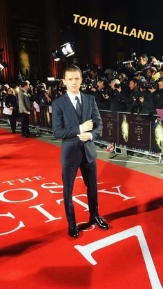 Tom Holland on the red carpet at the UK premiere of The Lost City of Z on February 16, 2017.