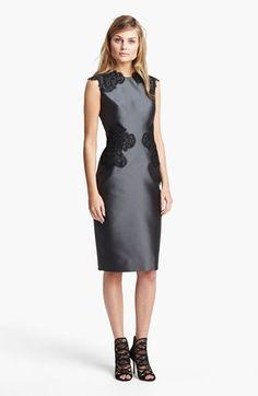 Lela Rose Hand Placed Lace Sheath Dress  6551374c5a8