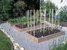 surround raised beds w/pea gravel + stone border (by ferbit @ ana-white.com)