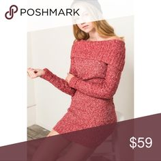 New red Fold Over tunic sweater dress Solid, waist length long sleeve sweater Tunic / Dress in a fitted style with a boat neck/off the shoulder sleeves MODEL HEIGHT   5.11 WEARING A SMALL SIZE 60/30/10 ACRYLIC POLY POLYMIDE  Please allow 3-7 business days for shipment as these were just ordered Dresses Mini