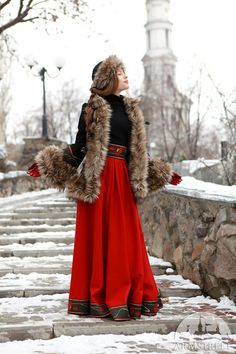 Short Fur Coat Russian Seasons with Hat and Muff by armstreet