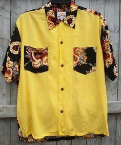 Mens Pineapple Juice Yellow Hawaiin Shirt Short Sleeve Size Large Made in Hawaii #Hawaiian