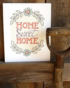 Home Sweet Home Letterpress Print. $24.00, via Etsy. Holy Crap! I love this so!!!