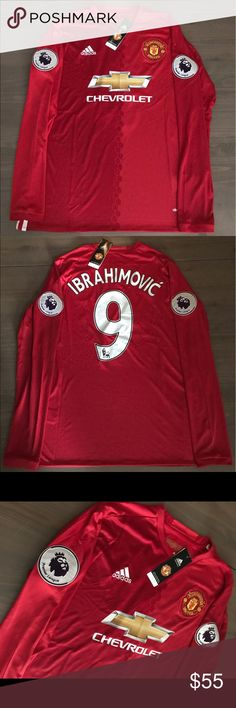 Manchester United Ibrahimovic #9 Adidas Soccer Manchester United Ibrahimovic #9 Adidas Soccer Premier League Patches adidas Shirts Tees - Long Sleeve