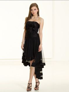 Online Sale 2012 Fashion Vogue Design Asymmetric Black Flat Hottest Cocktail Dress (HLD-012)