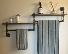 Industrial bathroom towel rack, bathroom shelf, towel rack, double towel rack, rustic bathroom