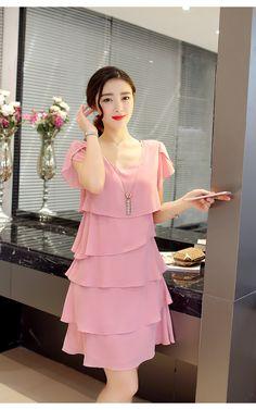 dd4c661fa66f 2017 New Women Summer Dress Plus Size 6XL Loose Chiffon Dress Knee-Length O-