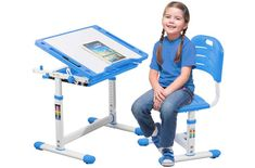 Developing a proper posture of the child, cultivating the interest of studying and so much more is done once you own kids desks designed in a way. Kids Study Desk, Kid Desk, Writing Table, Kids Writing, Modern Home Office Desk, Steel Frame Construction, Desk And Chair Set, Good Posture, Desk Storage