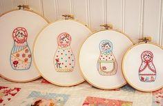 Muñecas rusas bordado patrón  Set de 4 por alittlesweetness en Etsy, $18.00