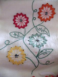 Getting to Know Brazilian Embroidery - Embroidery Patterns Vintage Embroidery, Embroidery Applique, Cross Stitch Embroidery, Embroidery Patterns, Machine Embroidery, Dish Towel Embroidery, Embroidery Needles, Flower Embroidery, Fabric Crafts