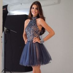 2014 New Design Short/Mini A-line Beaded Sheer Tulle Bodice Open Back Blue Tiered Homecoming/Evening Dress 2014 Fashion $139.89
