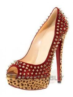Sexy Leopard Print Rivet Peep Toe Women's High Heels