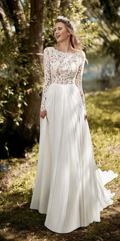 onlybridals Long Sleeves Wedding Dress 2019 Robe de mariee Vintage Lace Top New Bridal Dress Chiffon Wedding Gowns Customized wedding dress factory export trade for ten years, welcome to order wedding dress in batches with their own factory New Bridal Dresses, Disney Wedding Dresses, Rustic Wedding Dresses, Disney Dresses, Princess Wedding Dresses, Modest Wedding Dresses, Boho Wedding Dress, Elegant Dresses, Sexy Dresses
