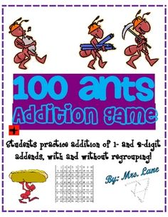 100 Ants Addition Game! (For Elementary)