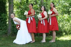 With her bridesmaids...