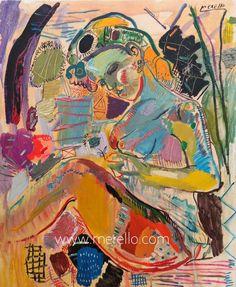 """UN POEMA Y UNA FLOR...  Jose Manuel Merello.- """"Mujer azul con flor (100x81 cm)""""  Técnica mixta sobre lienzo.  ARTE CONTEMPORÁNEO. http://www.merello.com"""