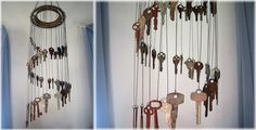 Sounds of summer -- this Key Chime Windchime makes a fun way to put salvaged keys to good use. Made by ~Llyzabeth on deviantART.