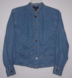 Breeches Blue Jean Denim Shirt Light Jacket Size 8 Women's Fashion