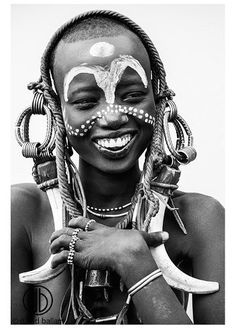 "This gorgeous black and white image taken by renowned South African photographer David Ballam of an Ethiopian Omo tribe girl we've named ""Fannah"" (meaning fun), measures x on lightweight stretched canvas and is ready-to-hang. African Image, African Art, We Are The World, People Of The World, Black And White Portraits, Black And White Photography, People Photography, Portrait Photography, Black And White People"