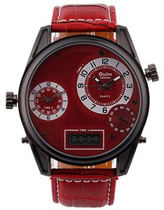 Fanmis Quartz Men Watches Leather Band Analog LED Digital Military Wristwatch Red >>> Read more reviews of the product by visiting the link on the image.Note:It is affiliate link to Amazon.