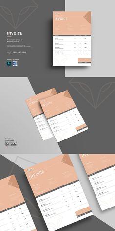 Stationery Templates, Invoice Template, Invoice Design, Company Work, Minimalism, Photoshop, Graphic Design, Color, Colour