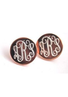 #Monogram earrings with a lot of class and a touch of sass, the Flutter Monogram Earrings by SwellCaroline.com! {rose gold or gold plated sterling silver} #MonogramEarrings #Timeless