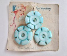 30s Sewing Supplies Powder Blue Buttons Lucky Day 1930s